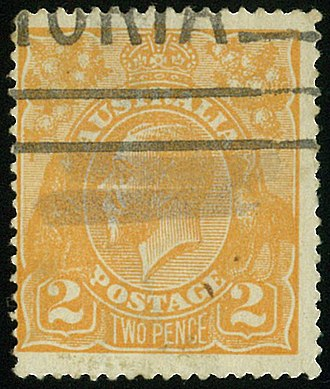 Errors, freaks, and oddities - Stamp freak,strange matter embedded in paper's stamp above number 2 (Australia 2d king george V orange die 1, 1920) .
