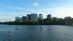 The Rosslyn skyline beyond the Potomac River and Key Bridge from Georgetown.