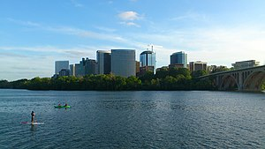 Rosslyn, Virginia - The Rosslyn skyline beyond the Potomac River and Key Bridge from Georgetown.