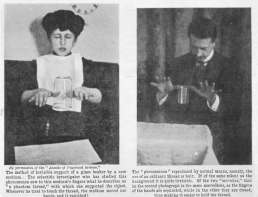 Stanislawa Tomczyk (left) and the magician William Marriott (right) who duplicated by natural means her levitation trick of a glass beaker. Stanislawa Tomczyk and William Marriott.png