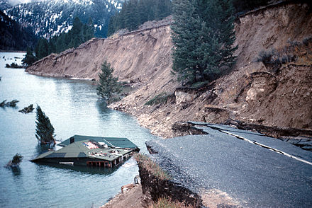 Landslide at Hebgen Lake due to the 7.2-magnitude earthquake of 1959 State Highway 287 slumped into Hebgen Lake.jpg