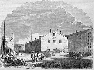 "Prison - An 1855 engraving of New York's Sing Sing Penitentiary, which also followed the ""Auburn (or Congregate) System."", where prison cells were placed inside of rectangular buildings that lent themselves more to large-scale penal labor."