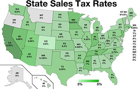 Oregon Sales Tax >> Sales Taxes In The United States Wikipedia