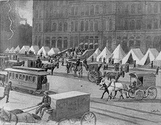 Chicago railroad strike of 1877 - State Troops encamped outside the post office in Chicago