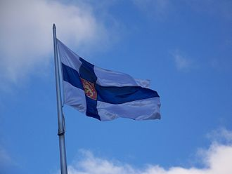 Flag of Finland - Flag at the Finnish embassy, Canberra.