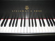 Ivorite and ebony keys on a modern Steinway & Sons concert grand piano.