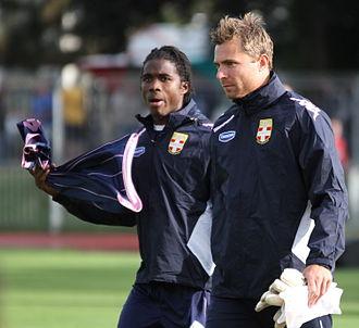 Stephan Andersen - Andersen (right) training at Évian, 2012.