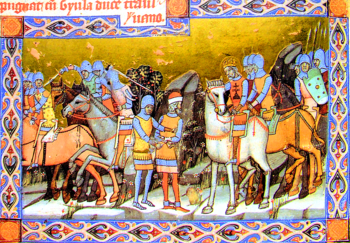 King on white horse with soldiers and horses