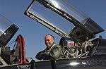 Steve Pearce unbuckles himself from a US Air Force (USAF) T-38 Talon aircraft.jpg