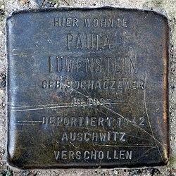 Photo of Paula Löwenstein brass plaque