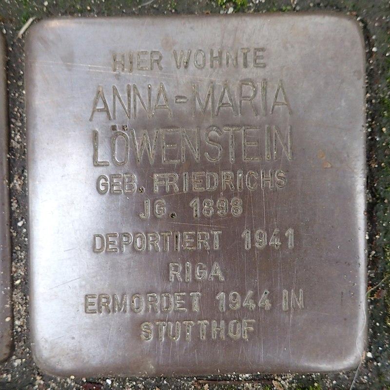 Stolperstein für Anna-Maria Löwenstein geb. Friedrichs