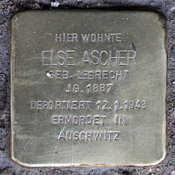 Photo of Else Ascher brass plaque