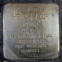 Photo of Henry Isidor  Henoch brass plaque