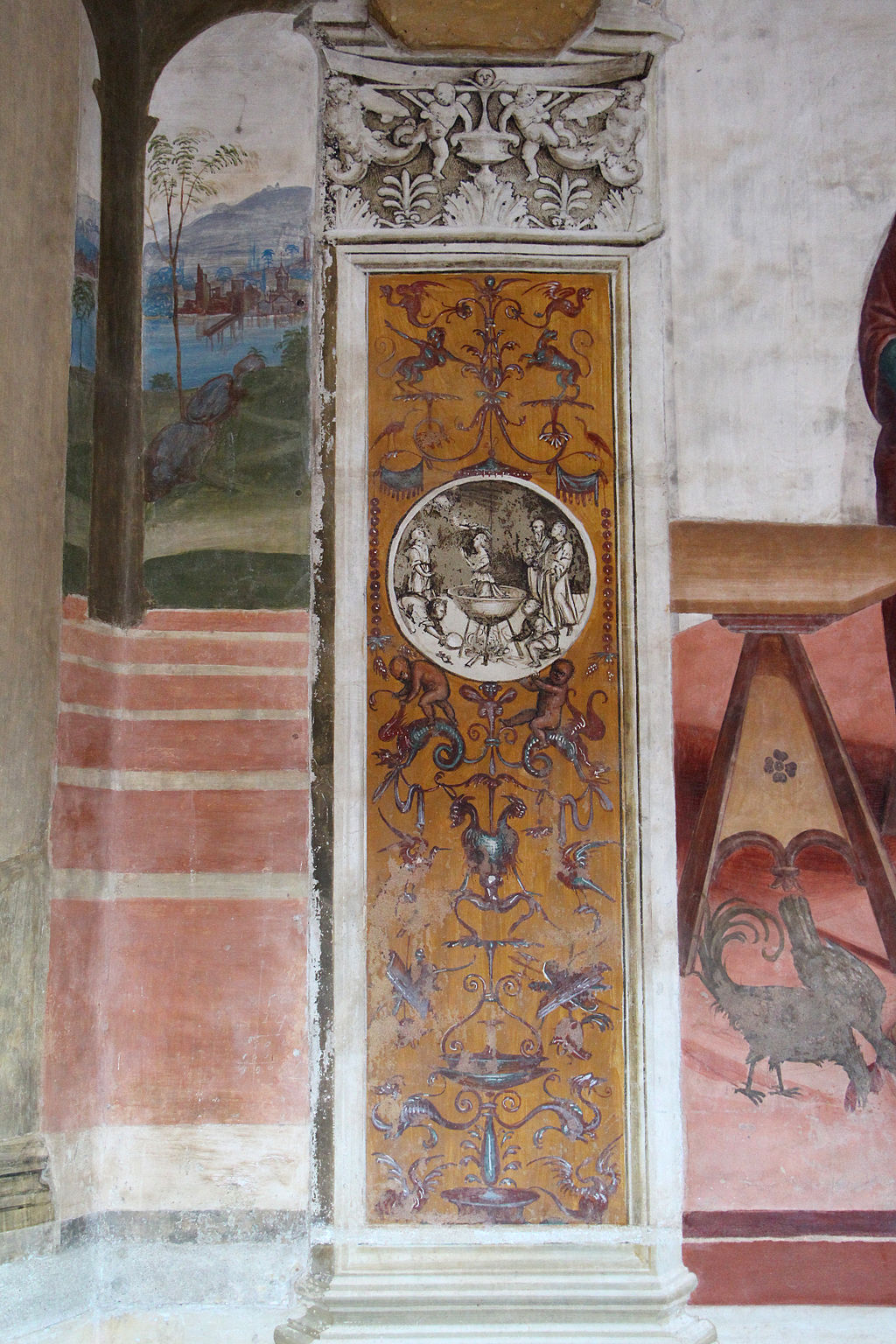 Il Sodoma, grotesque paintings in the Great Cloister, Abbey of Monte Oliveto Maggiore