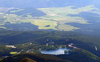 Štrbské Pleso - The commercial and residential buildings near the glacial lake make up the community of Štrbské Pleso.