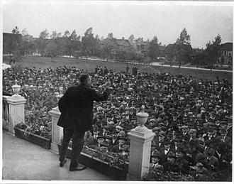 Steel strike of 1919 - Labor leader rallying striking steel workers in Gary, Indiana. (1919)