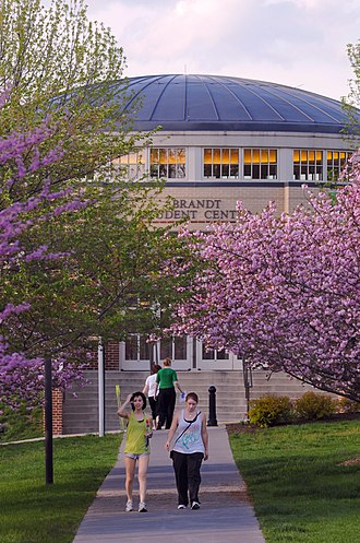 Shenandoah University - A view toward the Brandt Student Center during spring.