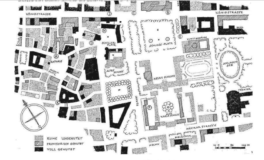Stuttgart 1945 Zerstörung Walter Kittel Zeichnung