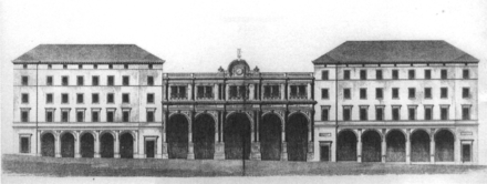 Elevation of the station, after the first station reconstruction (1867), seen from Schlossstraße