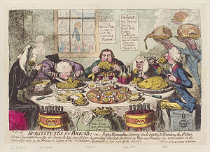 Game pie - Substitutes for bread; – or – right honorables, saving the loaves, and dividing the fishes. By James Gillray