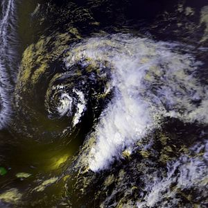1992 Atlantic hurricane season - Image: Subtropical Storm One 22 apr 1992 1834Z