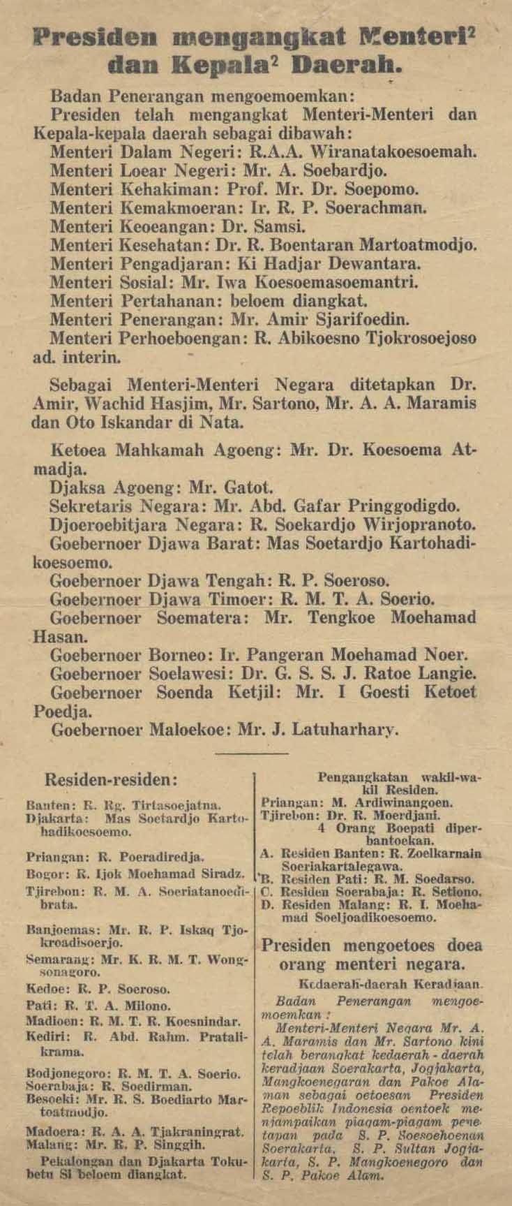 Sukarno presidential cabinet