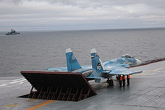 Kuznetsov-class aircraft carrier - A Su-33 on board Admiral Kuznetsov