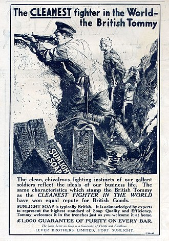 Sunlight (cleaning product) - Sunlight Soap ad in the trenches of WW I (1915)