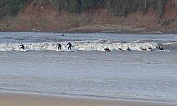 Surfers riding the Severn Bore - geograph.org.uk - 369764.jpg