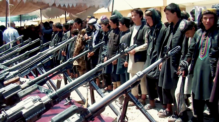 ISIL fighters who have surrendered to Afghan government forces, after having been defeated by the Taliban at the Battle of Darzab in July 2018. Surrendered Islamic State fighters in Darzab 2.png