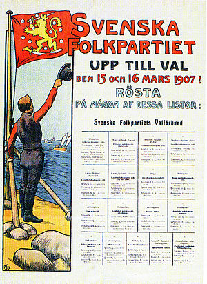 Swedish People's Party of Finland - Image: Svenska folkpartiet election poster 1907