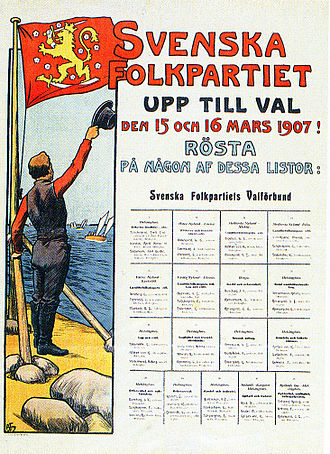 "Swedish People's Party of Finland - Swedish People's Party election poster from 1907, with ""the man with the flag"", that after this was used as party emblem for over 50 years. Designed by Alex Federley."