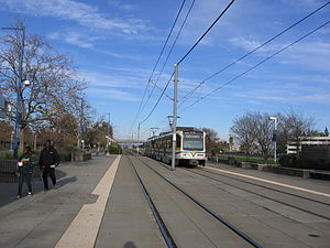 Swanston (Sacramento RT) - Outbound tram departs, December 8, 2012