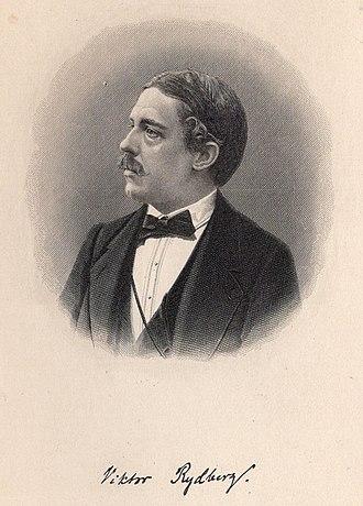 Viktor Rydberg - Viktor Rydberg portrait with signature
