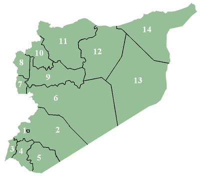 Map of administrative divisions of Syria.