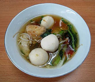 Fish ball - Bakso ikan (fish balls) with tofu soup in Indonesia.
