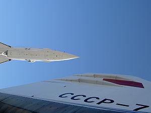 Tailplane Tu-144 and nose Concorde.JPG