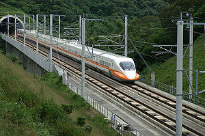 Railway electrification in Iran - Taiwan, THSR train on a test run in June 2006