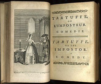 "Tartuffe - Frontispiece and titlepage of ""Tartuffe or The Imposter"" from a 1739 collected edition of his works in French and English, printed by John Watts. The engraving depicts the amoral Tartuffe being deceitfully seduced by Elmire, the wife of his host, Orgon who hides under a table."