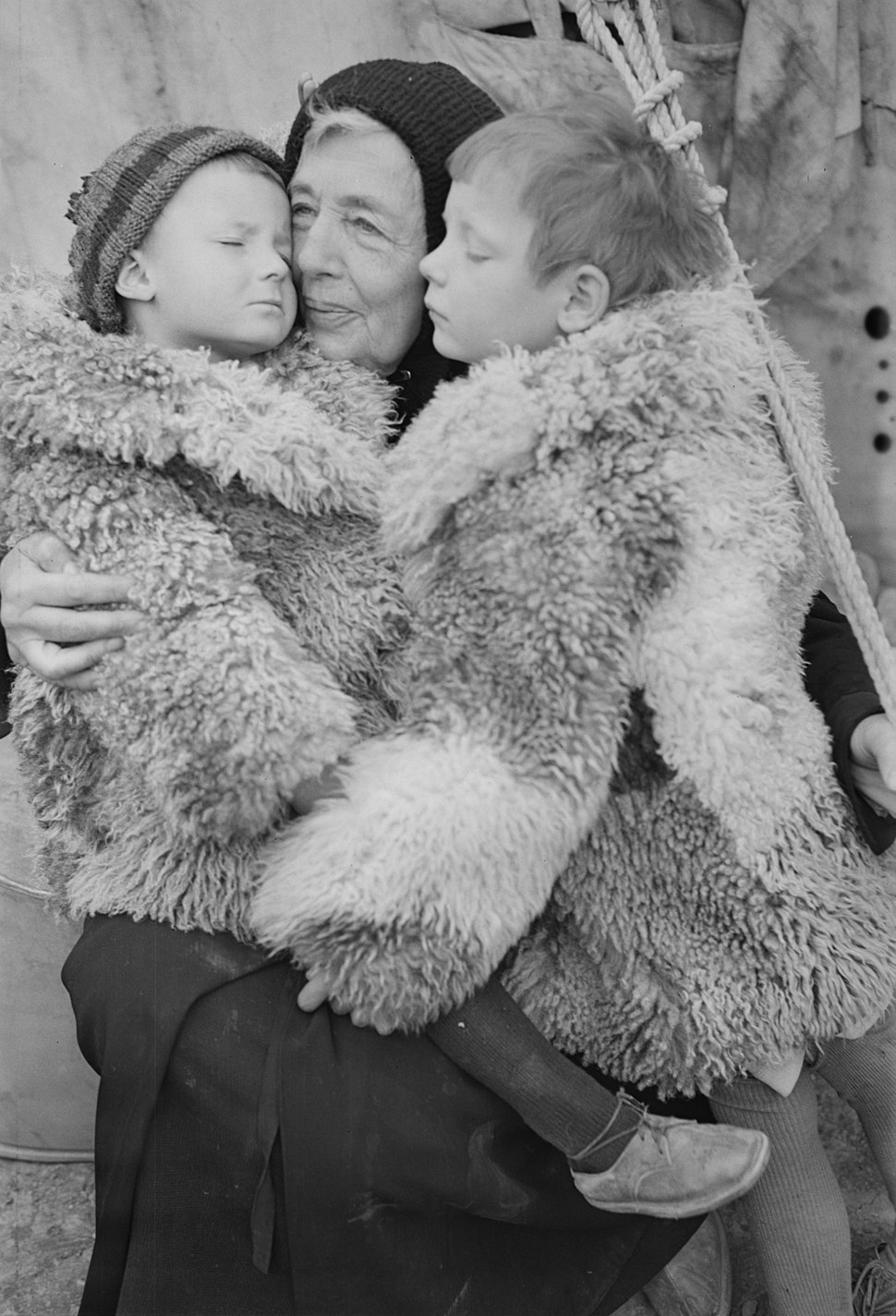 Teheran, Iran. Polish woman and her grandchildren shown in an American Red Cross evacuation camp as they await evacuation to new homes.jpeg