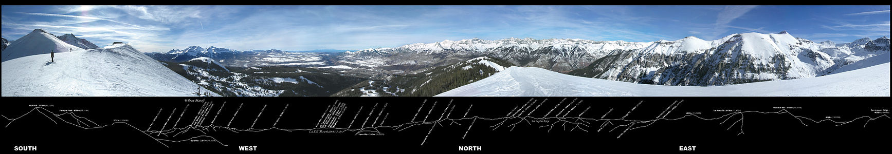 360° panorama of the southwestern San Juans, photographed from the Gold Hill Ridge of the Telluride Ski Resort.