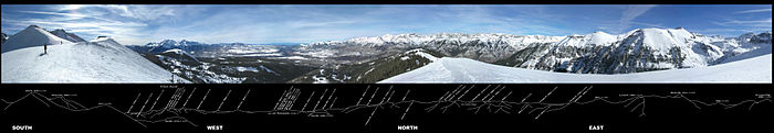 360˚ panorama of the southwestern San Juans, with ridgeline annotation indicating the names and elevations of 43 visible peaks.