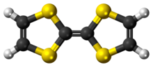 Ball-and-stick model of the tetrathiafulvalene molecule