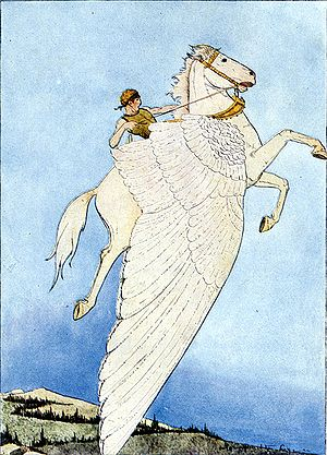 White horse (mythology) - Bellerophon riding Pegasus