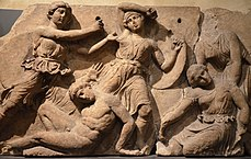 The Bassai sculptures, marble block from the frieze of the Temple of Apollo Epikourios at Bassae (Greece), Greeks fight Amazons, about 420-400 BC, British Museum (14073618960).jpg