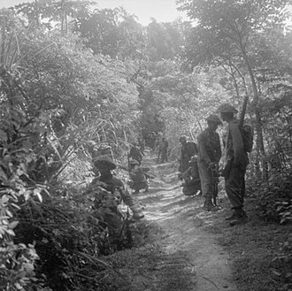 Indonesian National Revolution - Indian and British troops move cautiously along a jungle track round the town of Gresik.