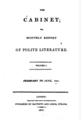 The Cabinet; or, Monthly report of polite literature (1807, Vol. 1, London).png