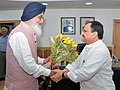 The Chief Minister of Punjab, Shri Parkash Singh Badal meeting the Union Minister for Health & Family Welfare, Shri J.P. Nadda, in New Delhi on August 28, 2015.jpg