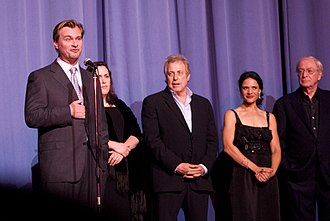 Christopher Nolan - Nolan (left) with the cast and crew of The Dark Knight at the 2008 European premiere in London.