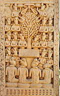 The Gods entreating Buddha to preach Sanchi Stupa 1 Western Gateway right pillar Inner panel No2.jpg